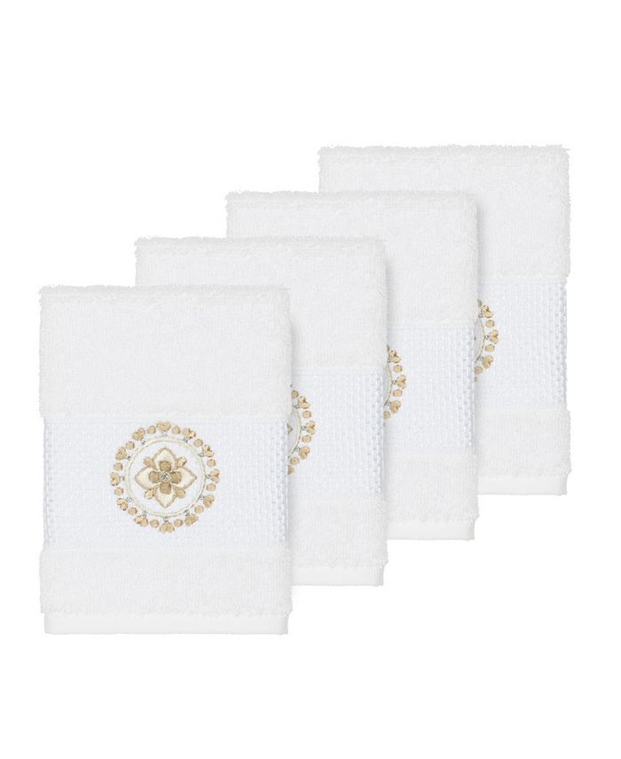 Linum Home - Isabelle 4-Pc. Embroidered Turkish Cotton Washcloth Set