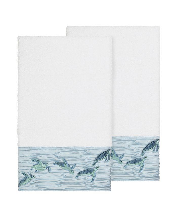 Linum Home - Mia 2-Pc. Embroidered Turkish Cotton Bath Towel Set