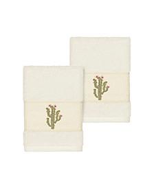 Mila 2-Pc. Embroidered Turkish Cotton Washcloth Set