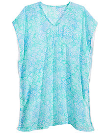 Summer Crush Big Girls Printed Pom-Pom-Trim Cover Up