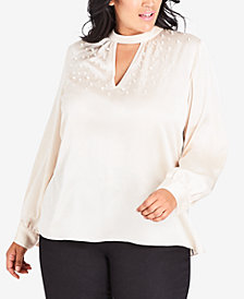 City Chic Plus Size Imitation-Pearl Love Top