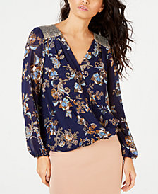 Thalia Sodi Embellished Surplice Top, Created for Macy's
