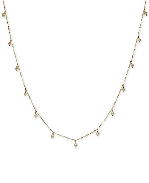 """Macy's Cultured Freshwater Pearl (3mm) Station Necklace in 14k Gold, 17-1/2"""" + 2"""" extender"""