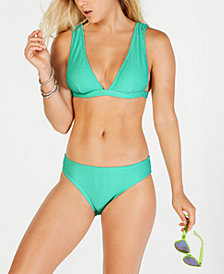 Hula Honey Pucker Up Textured Triangle Bralette Bikini Top & Pucker Up Textured Hipster Bikini Bottoms, Created for Macy's