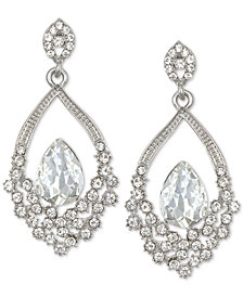 Jewel Badgley Mischka Silver-Tone Crystal Open Drop Earrings