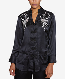 INSPR Natalie Off Duty Embroidered Satin Top, Created for Macy's