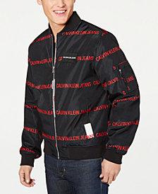 Calvin Klein Jeans Men's Random Logo Print Bomber Jacket