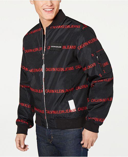 Calvin Klein Jeans Men s Random Logo Print Bomber Jacket - Coats ... f381548c29