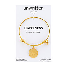 "Unwritten Yellow Gold Tone ""You Are My Sunshine"" Charm Bangle Bracelet, 8"" Length, 2.25"" Diameter"
