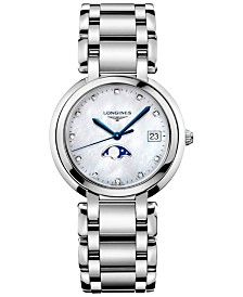 Longines Women's Swiss PrimaLuna Diamond-Accent Stainless Steel Bracelet Watch 34mm