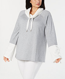 Calvin Klein Performance Plus Size Cowl-Neck Bell-Sleeve Top