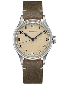 Longines Men's Swiss Automatic Heritage Military Khaki Leather Strap Watch 38.5mm