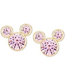 Disney© Children's Cubic Zirconia Birthstone Mickey Mouse Stud Earrings in 14k Gold