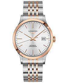 Longines Men's Swiss Automatic Record Stainless Steel & 18K Rose Gold Cap 200 Bracelet Watch 40mm