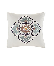 "Echo Design Paisley Shawl 20""x20"" Embroidered Cotton Square Decorative Pillow"