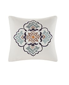 "Echo Design Paisley Shawl 20""x20"" Embroidered Cotton Square Decorative Pillow"