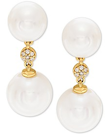 White Cultured Freshwater Pearl (7-1/2mm and 9mm) & Diamond Accent Drop Earrings in 14k Gold