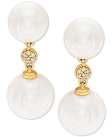 Honora White Cultured Freshwater Pearl (7-1/2mm and 9mm) & Diamond Accent Drop Earrings in 14k Gold