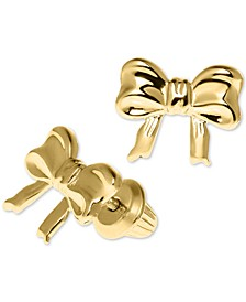 Children's Ribbon Bow Safety-Back Earrings in 14k Gold