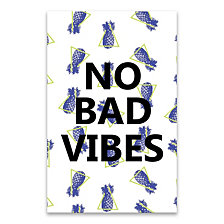 No Bad Vibes Pineapple Coated Embellished Canvas