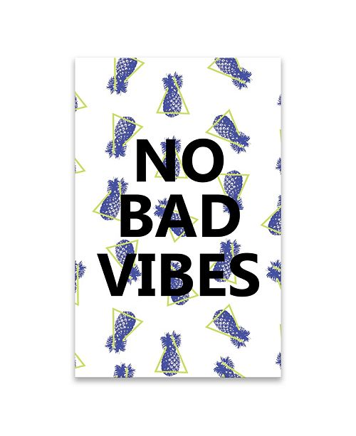 "Artissimo Designs No Bad Vibes Coated Embellished Canvas Art - 18"" W x 28"" H x 1.5"" D"