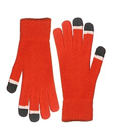 Micro Velvet Orange Touch Screen Gloves With Glow Tips