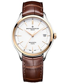 Baume & Mercier Men's Swiss Automatic Clifton Baumatic Red Brown Alligator Leather Strap Watch 40mm