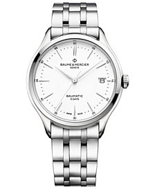 Baume & Mercier Men's Swiss Automatic Clifton Baumatic Stainless Steel Bracelet Watch 40mm
