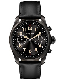 Montblanc Men's Swiss Summit 2 Black Leather Strap Touchscreen Smart Watch 42mm