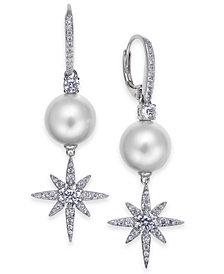 Danori Silver-Tone Crystal Star & Imitation Pearl Drop Earrings, Created for Macy's