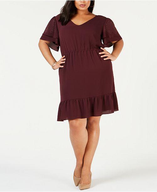 Michael Kors Plus Size Ruffled Dress & Reviews - Dresses ...