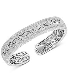 Diamond Engraved Bangle Bracelet (1/2 ct. t.w.) in Sterling Silver