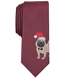 Bar III Men's Santa Pug Skinny Tie, Created for Macy's