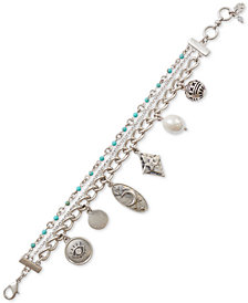 Lucky Brand Silver-Tone Crystal, Bead & Imitation Pearl Celestial Charm Bracelet, Created for Macy's