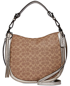 COACH Signature Metallic and Exotics Sutton Hobo Shoulder Bag