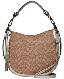 COACH Signature Metallic and Exotics Sutton Hobo Shoulder Bag