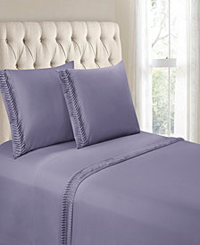 Hudson & Main Arrow Pleated Hem 4 Pieces Queen Sheet Set