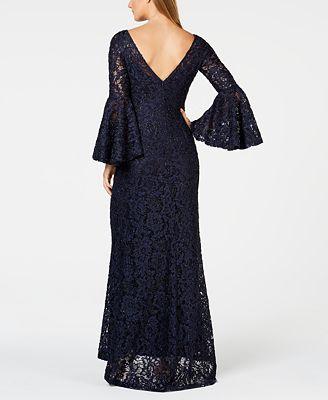 Calvin Klein Glitter Lace Bell Sleeve Gown Dresses Women Macys