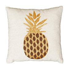 Natural and Gold Paulina Pineapple Beaded Pillow