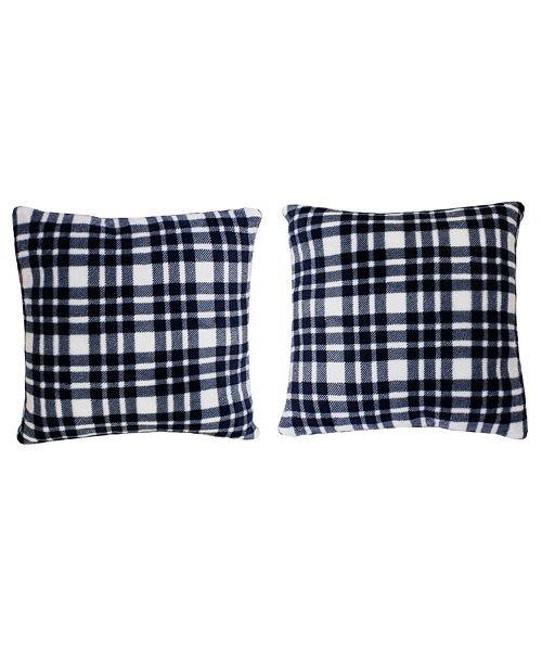 """THRO Polyester Fill Classic Plaid Fleece Pillow, Pack of 2, 18"""" x 18"""""""
