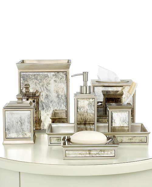 Turn your bathroom into a palace with this Palazzo bath collection from Kassatex, featuring an antiqued mirror finish for a classic look.