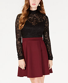 B Darlin Juniors' Lace-Top Fit & Flare Dress