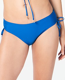 DKNY Solid Ruched Side-Tie Bikini Bottoms