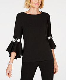 MSK Floral Appliqué Bell-Sleeve Top