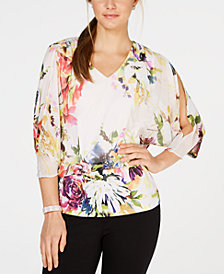MSK Floral Split-Sleeve Blouson Top