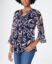 Charter Club Pintucked Paisley-Print Top, Created for Macy's