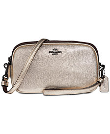 COACH Metallic Crossbody Clutch in Pebble Leather