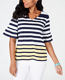 Charter Club Striped Colorblocked Top, Created for Macy's