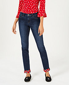 Charter Club Petite Plaid-Cuff Skinny Jeans, Created for Macy's