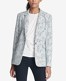 DKNY Bonded Lace One-Button Jacket, Created for Macy's